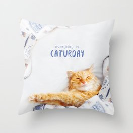 Everyday is caturday Throw Pillow