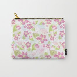seamless  pattern with pink flowers and leaves. Carry-All Pouch