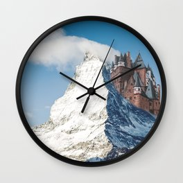 Castle on the Hill Matterhorn and Burg Eltz Castle in Germany Wall Clock