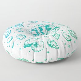 Geo-rex Vortex | Turquoise Ombré Floor Pillow