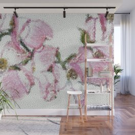 Dogwood Tree Flowers (stained glass-pink&green) Wall Mural