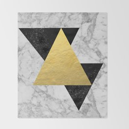 Marble Tri Black & Gold - gold foil, gold, marble, black and white, trendy, luxe, gold phone Throw Blanket