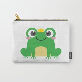 Cute cartoon frog is sitting with crown Carry-All Pouch
