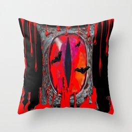 Red  Hells Gate Portal Blood & Bats Throw Pillow