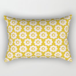 Canary Yellow Retro Floral Rectangular Pillow