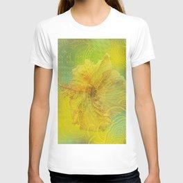 zen pattern yellow hibiscus T-shirt