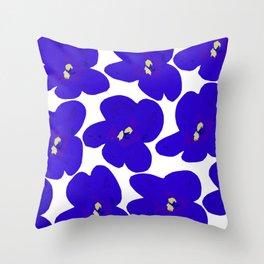 Blue Retro Flowers Throw Pillow
