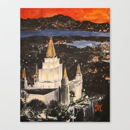 Oakland California LDS Temple Sunset Canvas Print