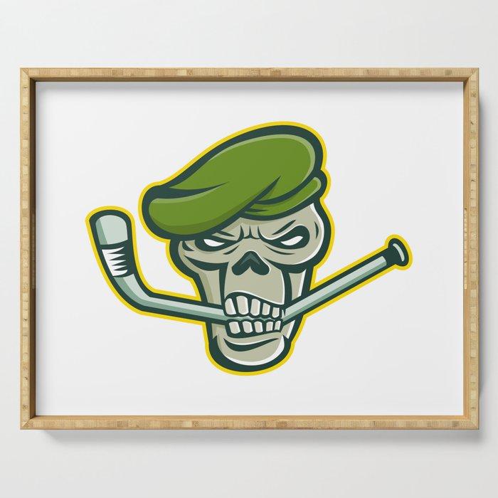 Green Beret Skull Ice Hockey Mascot Serving Tray