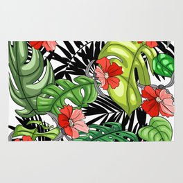 Tropical Flower Pattern - Green and Red Version Rug