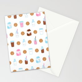 Milk and Cookies Pattern on White Stationery Cards