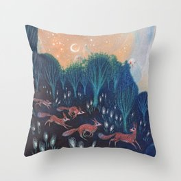 Night of the Foxes Throw Pillow