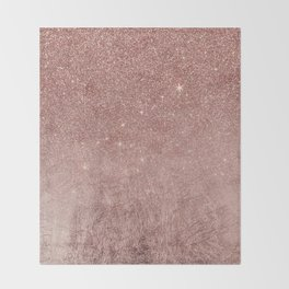 Girly Glam Pink Rose Gold Foil and Glitter Mesh Throw Blanket