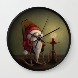 New edit: Little Santa in his rocking chair Wall Clock