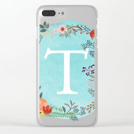 Personalized Monogram Initial Letter T Blue Watercolor Flower Wreath Artwork Clear iPhone Case