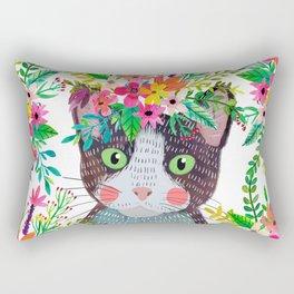 Cat with flowers Rectangular Pillow