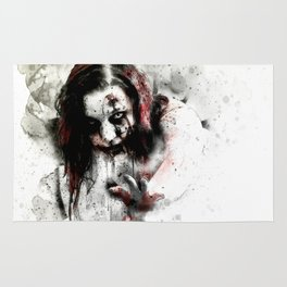 Watercolor Zombie, Horror Zombie, Cool Women Zombie Painting Rug