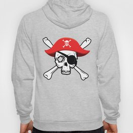 Pirate Skull and Crossbones with Red Hat and Eye Patch Hoody