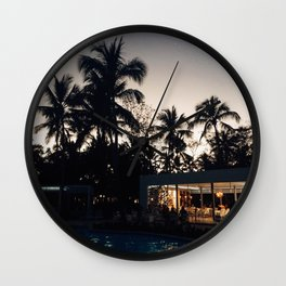 Grand Paradise Pool At Night Wall Clock