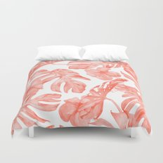 Tropical Hibiscus and Palm Leaves Dark Coral White Duvet Cover