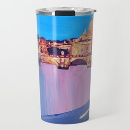 Rome Scene with Motorcycle and view of Vatican with Dome of St Peter Travel Mug