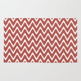 Watermelon Red Southern Cottage Ikat Chevrons Rug