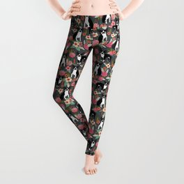 Boston Terrier floral dog breed pet art must have boston terriers gifts Leggings