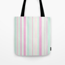 Pastel Pink, Purple, Green and Yellow Stripes Tote Bag