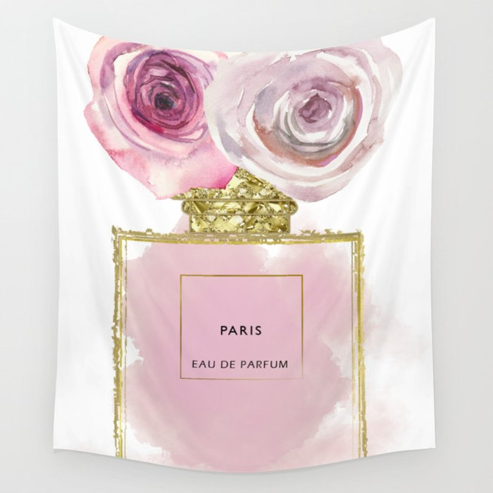 Pink & Gold Floral Fashion Perfume Bottle Wall Tapestry