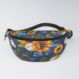 Modern yellow orange blue watercolor sunflower floral pattern Fanny Pack