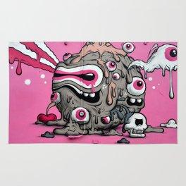 Urban Street Art: Pink Oozing Eye Creature (Buff Monster) Rug