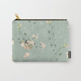 Sweet pea botanical pattern in green Carry-All Pouch