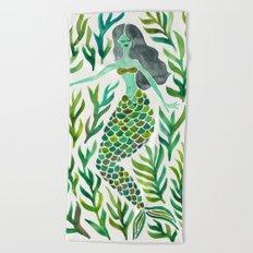 Kelp Forest Mermaid – Green Palette Beach Towel