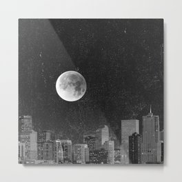 Blood Moon Over Denver Colorado in Black and White Metal Print