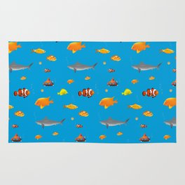 Cute and funny handdrawn fish pattern Rug