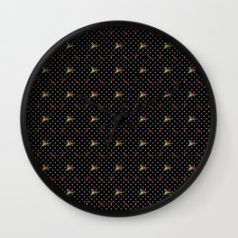 Chili Peppers & Flowers on Micro Polka Dots Wall Clock