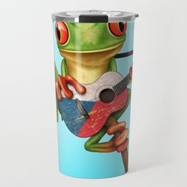 Tree Frog Playing Acoustic Guitar with Flag of Czech Republic Travel Mug