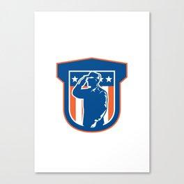Miilitary Serviceman Salute Side Crest Canvas Print