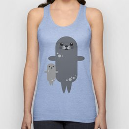 Cute Seal Pup Swimming with Mom Unisex Tank Top