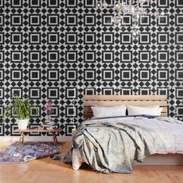 Black & White Tile Pattern Wallpaper