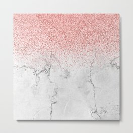 Rose Gold Glitter and white marmble Metal Print