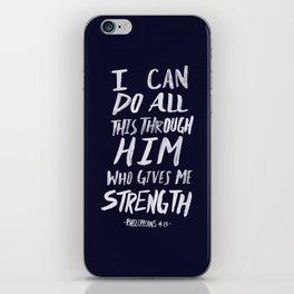 Philippians 4: 13 x Navy iPhone Skin