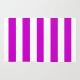 Deep magenta violet - solid color - white vertical lines pattern Rug