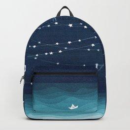 Garlands of stars, watercolor teal ocean Backpack