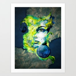 Esther Green (Set) by carographic watercolor portrait Art Print