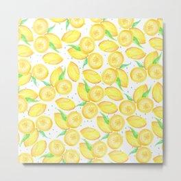 Sunshine yellow orange blue watercolor lemon fruit pattern Metal Print