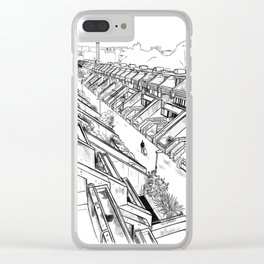 Alexandra Road -London housing estate Camden architectural drawing Clear iPhone Case