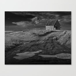 Farm building along the coast on Prince Edward Island in Black and White Canvas Print