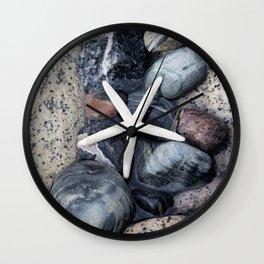 Starfish and pebble on beach Wall Clock