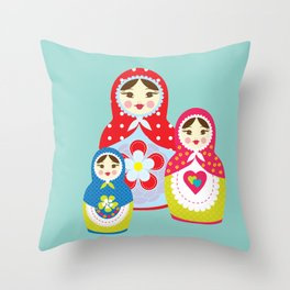 Turquoise babushka , matryoshka , russian doll , nursery decor , children gift, birthday gift Throw Pillow